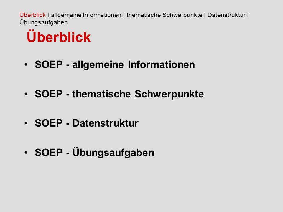 Überblick SOEP - allgemeine Informationen
