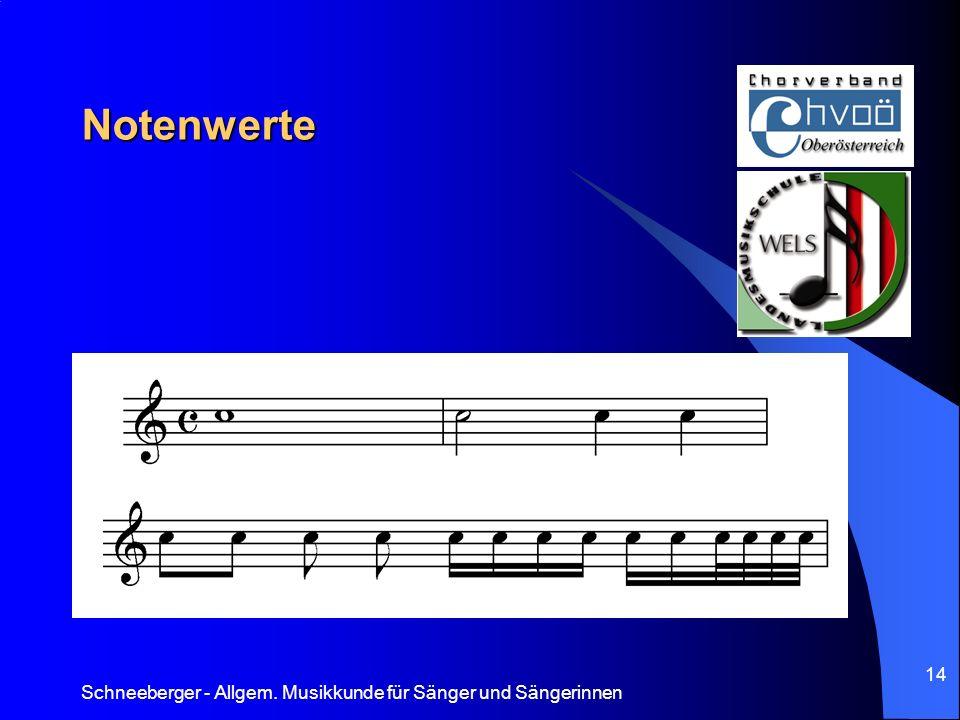 Notenwerte Schneeberger - Allgem. Musikkunde für Sänger und Sängerinnen