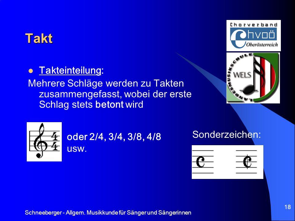 Takt Takteinteilung: Mehrere Schläge werden zu Takten zusammengefasst, wobei der erste Schlag stets betont wird.