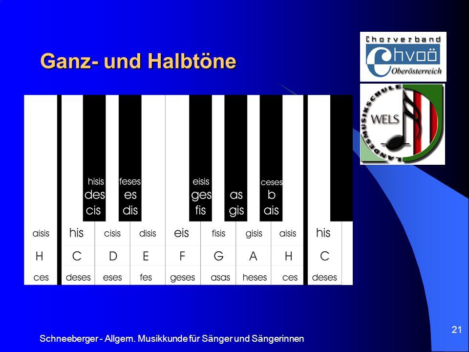 Ganz- und Halbtöne Schneeberger - Allgem. Musikkunde für Sänger und Sängerinnen