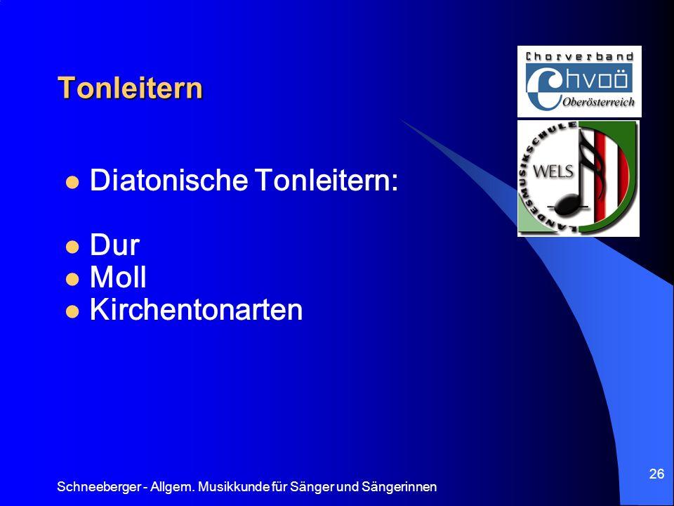 Diatonische Tonleitern: Dur Moll Kirchentonarten