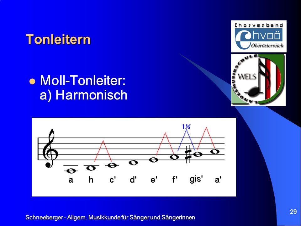 Tonleitern Moll-Tonleiter: a) Harmonisch