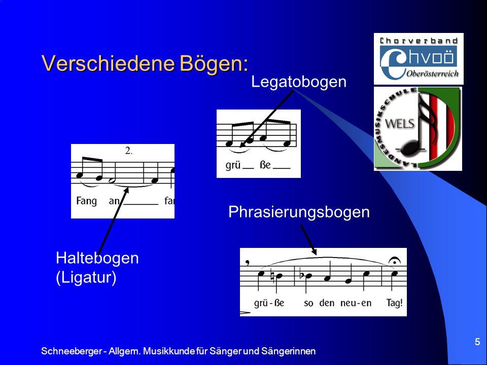 Verschiedene Bögen: Legatobogen Phrasierungsbogen Haltebogen (Ligatur)