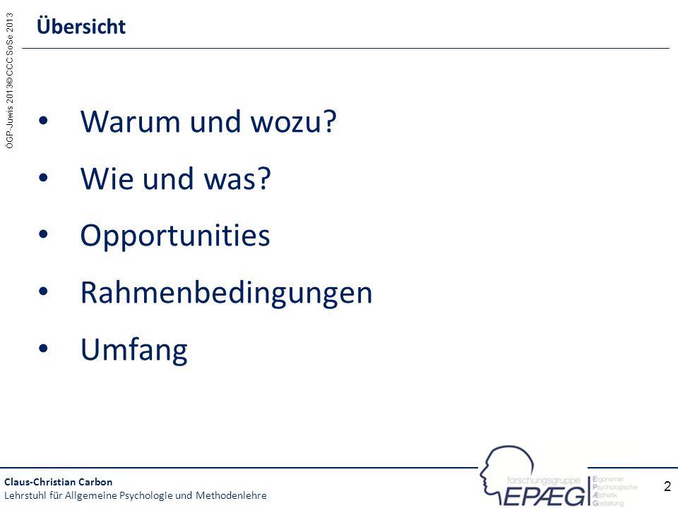 Warum und wozu Wie und was Opportunities Rahmenbedingungen Umfang