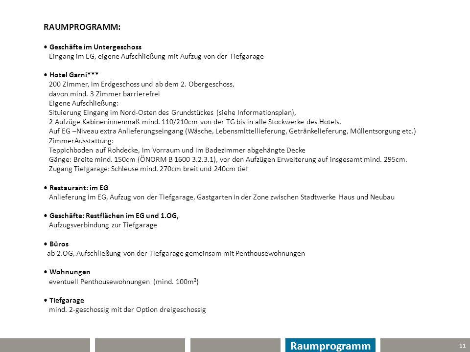 Raumprogramm RAUMPROGRAMM: • Geschäfte im Untergeschoss