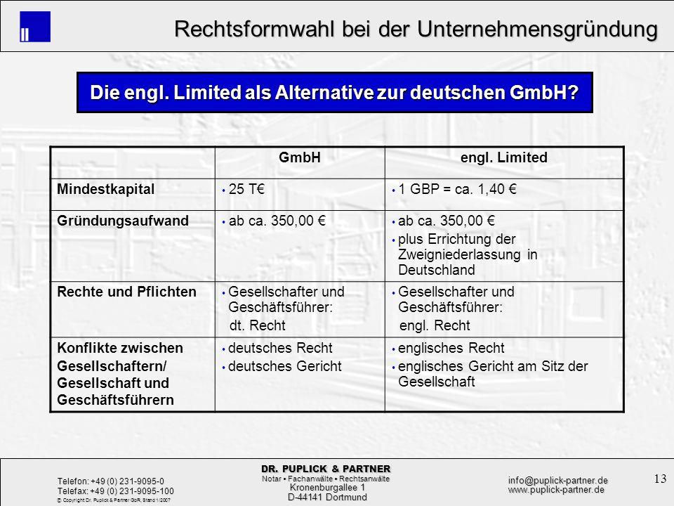 Die engl. Limited als Alternative zur deutschen GmbH