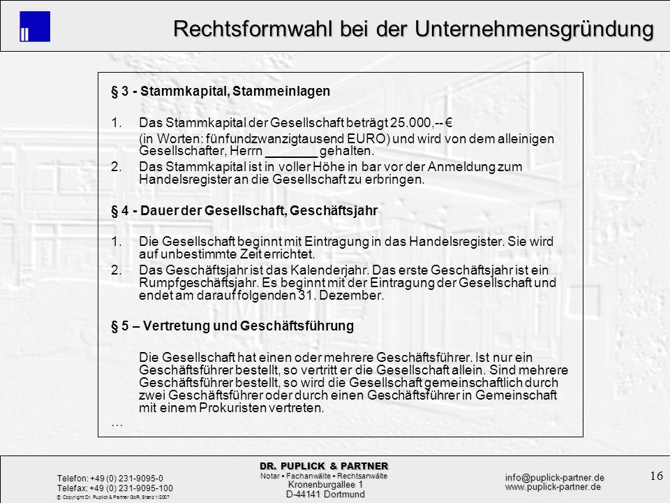 § 3 - Stammkapital, Stammeinlagen