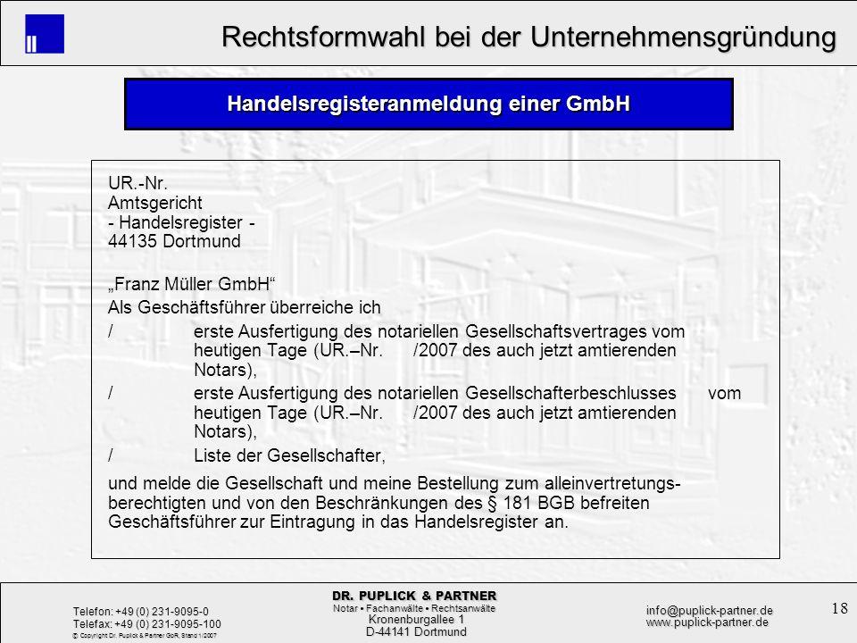 Handelsregisteranmeldung einer GmbH