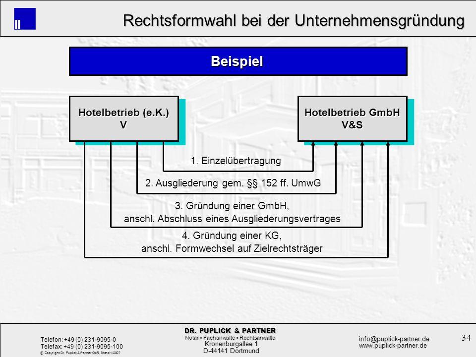 Beispiel Hotelbetrieb (e.K.) V Hotelbetrieb GmbH V&S