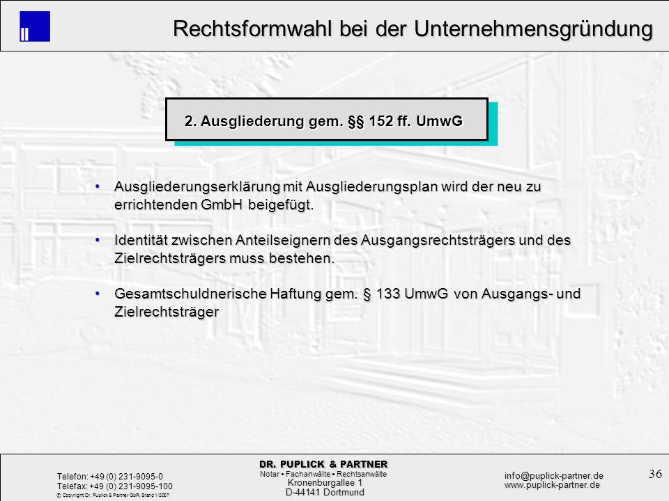 2. Ausgliederung gem. §§ 152 ff. UmwG