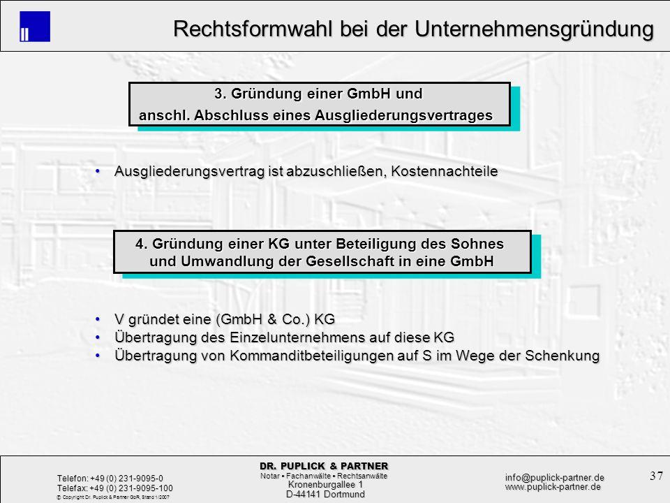 3. Gründung einer GmbH und
