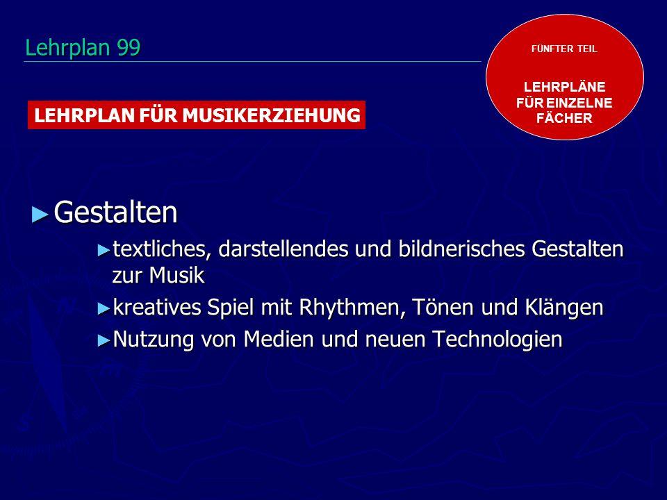 FÜNFTER TEIL LEHRPLÄNE. FÜR EINZELNE. FÄCHER. LEHRPLAN FÜR MUSIKERZIEHUNG. Lehrplan 99. Gestalten.