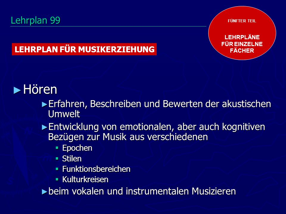 FÜNFTER TEIL LEHRPLÄNE. FÜR EINZELNE. FÄCHER. LEHRPLAN FÜR MUSIKERZIEHUNG. Lehrplan 99. Hören.
