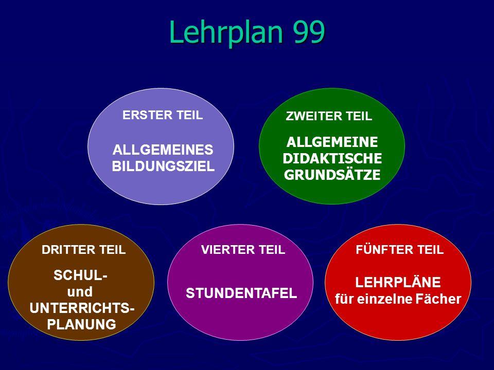 Lehrplan 99 ALLGEMEINE ALLGEMEINES DIDAKTISCHE BILDUNGSZIEL GRUNDSÄTZE