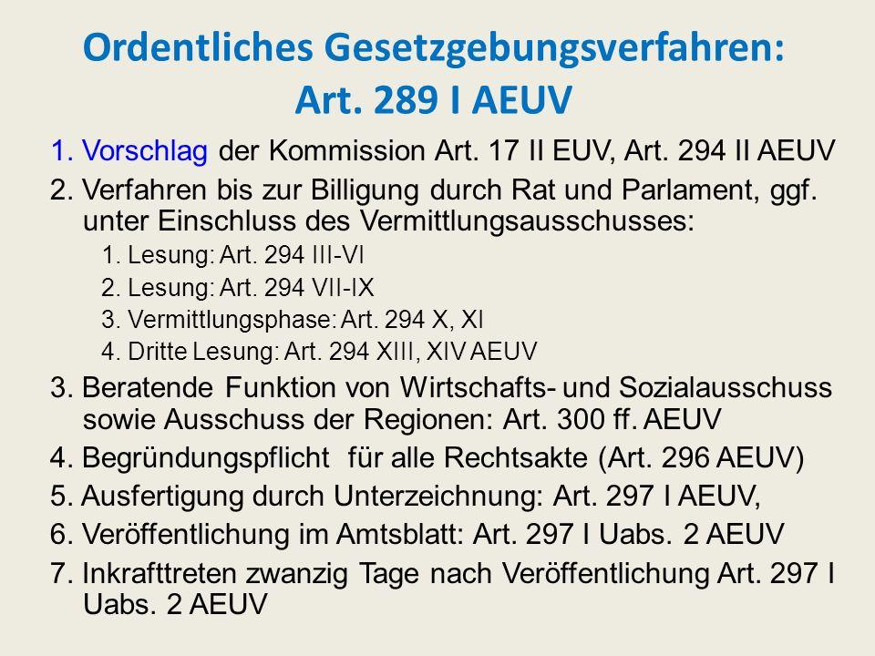 Ordentliches Gesetzgebungsverfahren: Art. 289 I AEUV