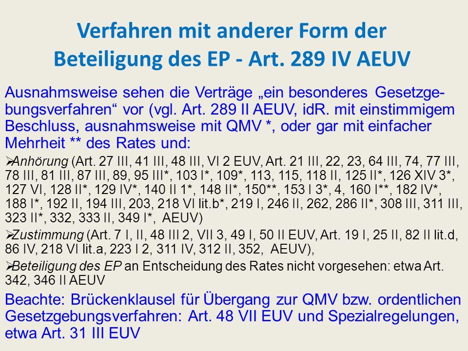 Verfahren mit anderer Form der Beteiligung des EP - Art. 289 IV AEUV