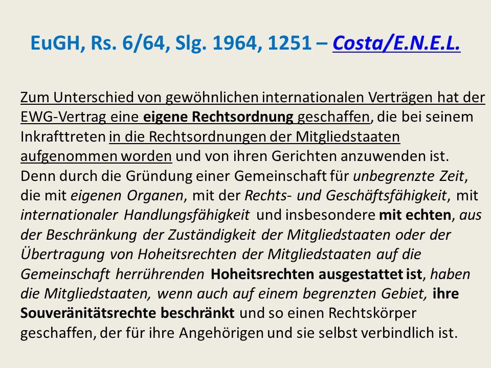 EuGH, Rs. 6/64, Slg. 1964, 1251 – Costa/E.N.E.L.