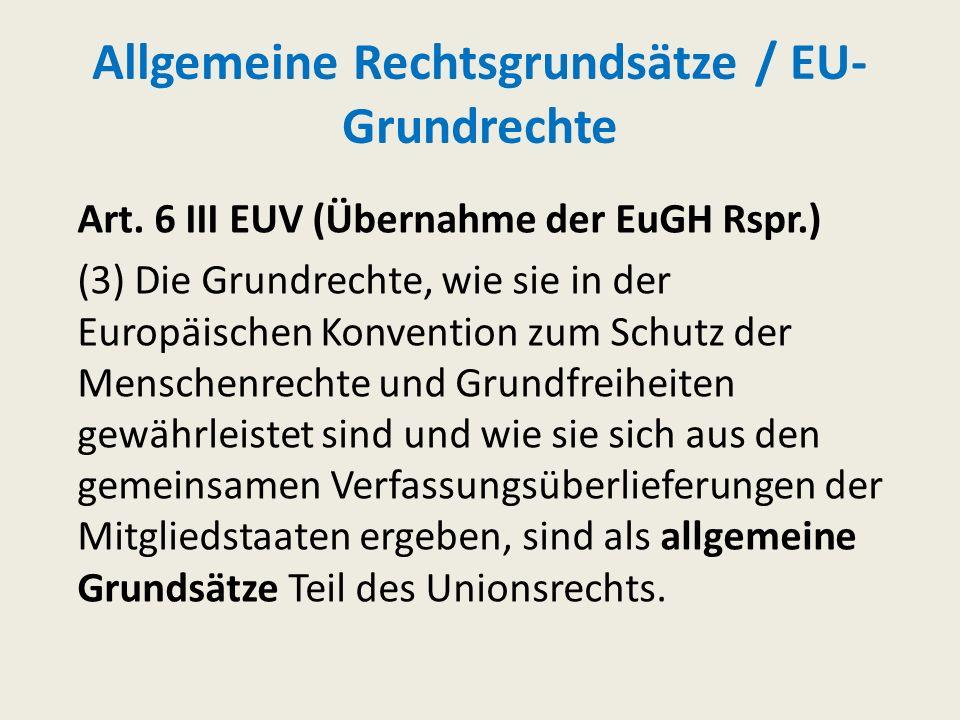 Allgemeine Rechtsgrundsätze / EU-Grundrechte