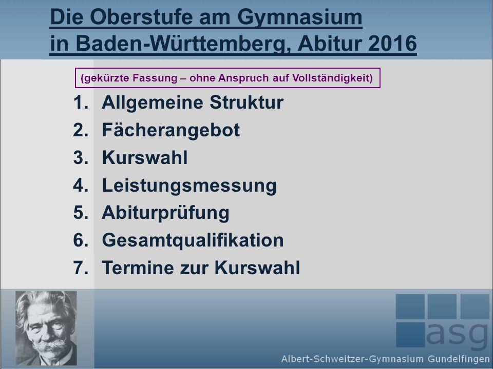 Die Oberstufe am Gymnasium in Baden-Württemberg, Abitur 2016