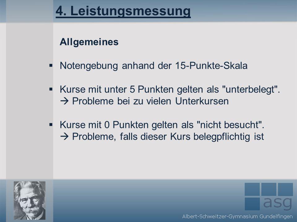 4. Leistungsmessung Allgemeines Notengebung anhand der 15-Punkte-Skala