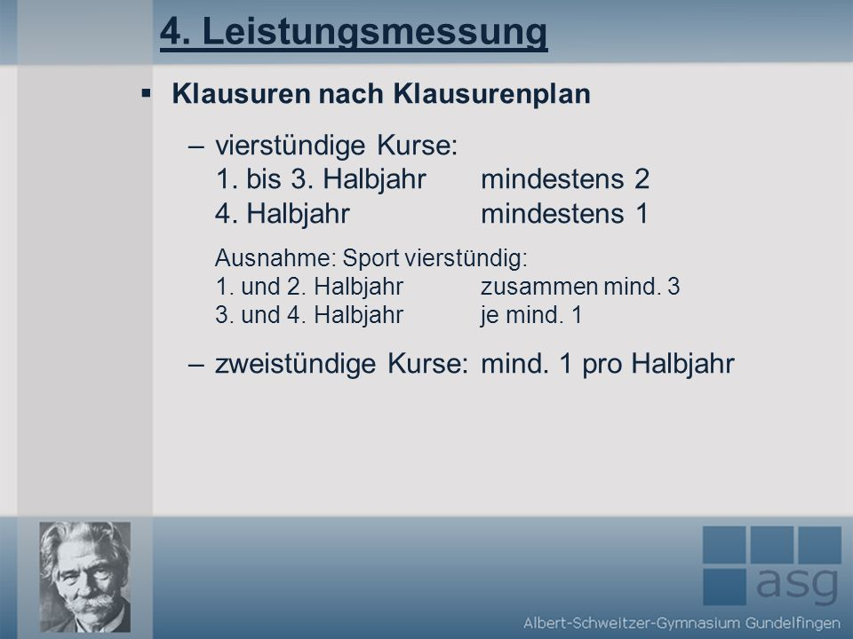 4. Leistungsmessung Klausuren nach Klausurenplan