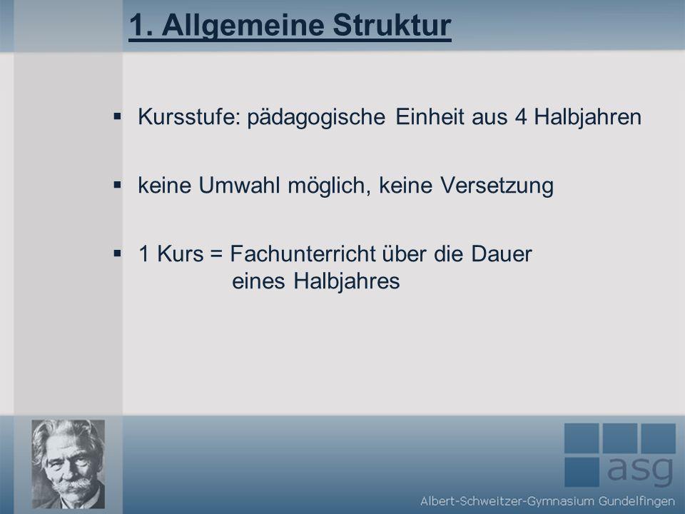1. Allgemeine Struktur Kursstufe: pädagogische Einheit aus 4 Halbjahren. keine Umwahl möglich, keine Versetzung.