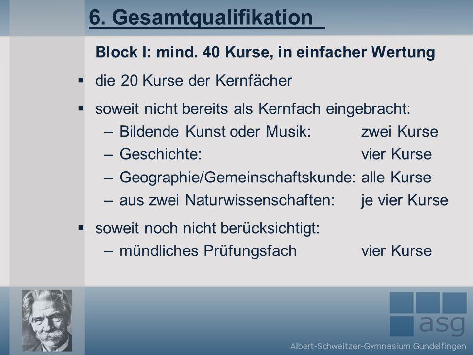 6. Gesamtqualifikation Block I: mind. 40 Kurse, in einfacher Wertung