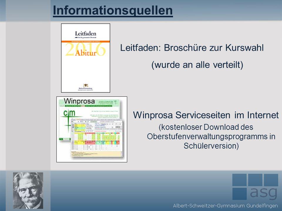 Informationsquellen Leitfaden: Broschüre zur Kurswahl (wurde an alle verteilt) Winprosa Serviceseiten im Internet.