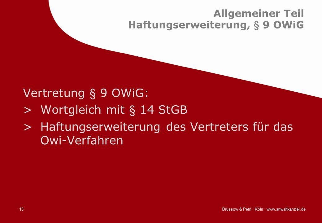 Allgemeiner Teil Haftungserweiterung, § 9 OWiG