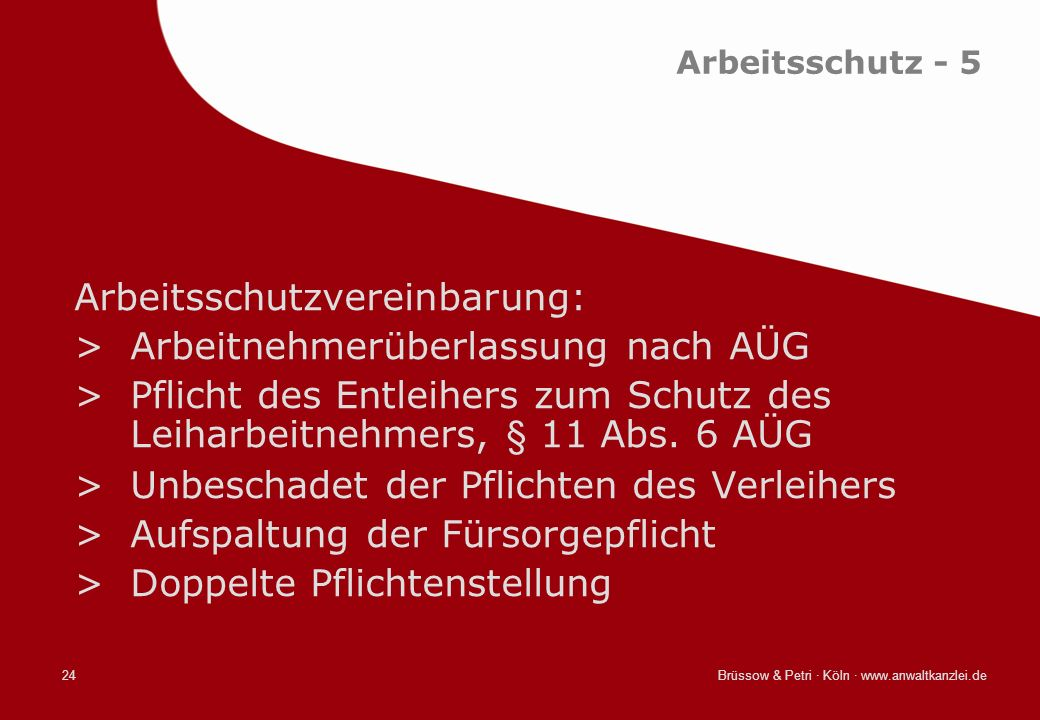 Arbeitsschutzvereinbarung: Arbeitnehmerüberlassung nach AÜG