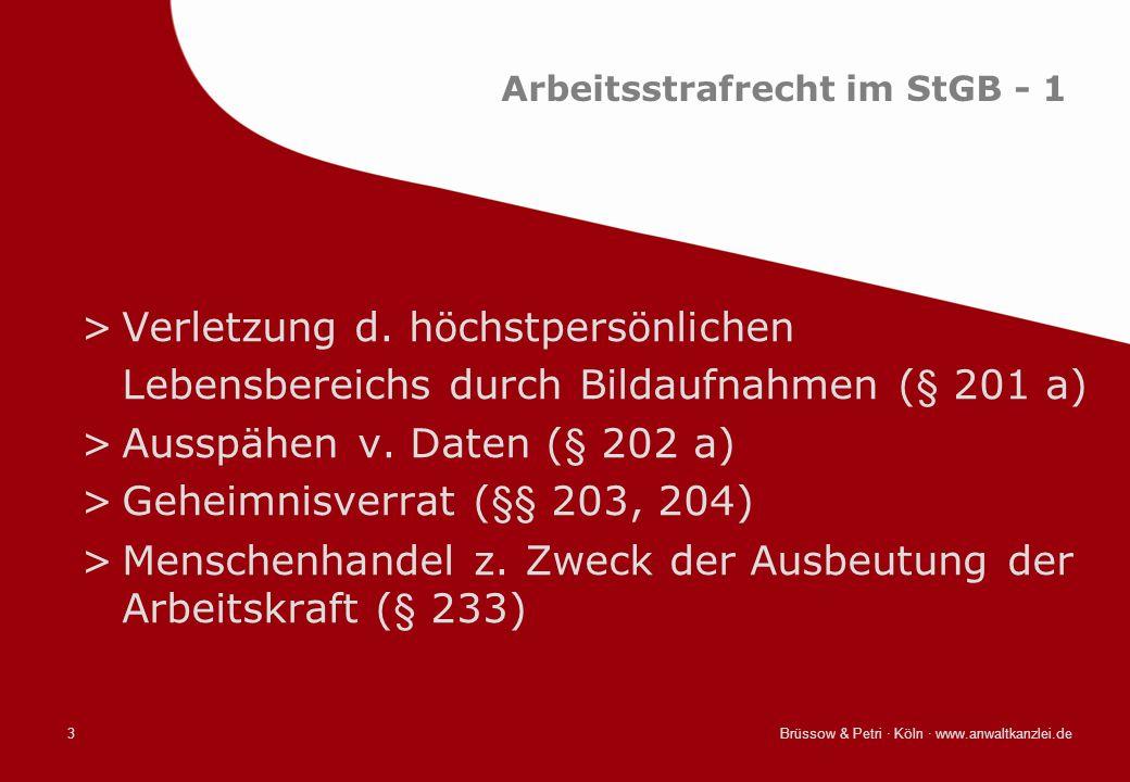 Arbeitsstrafrecht im StGB - 1