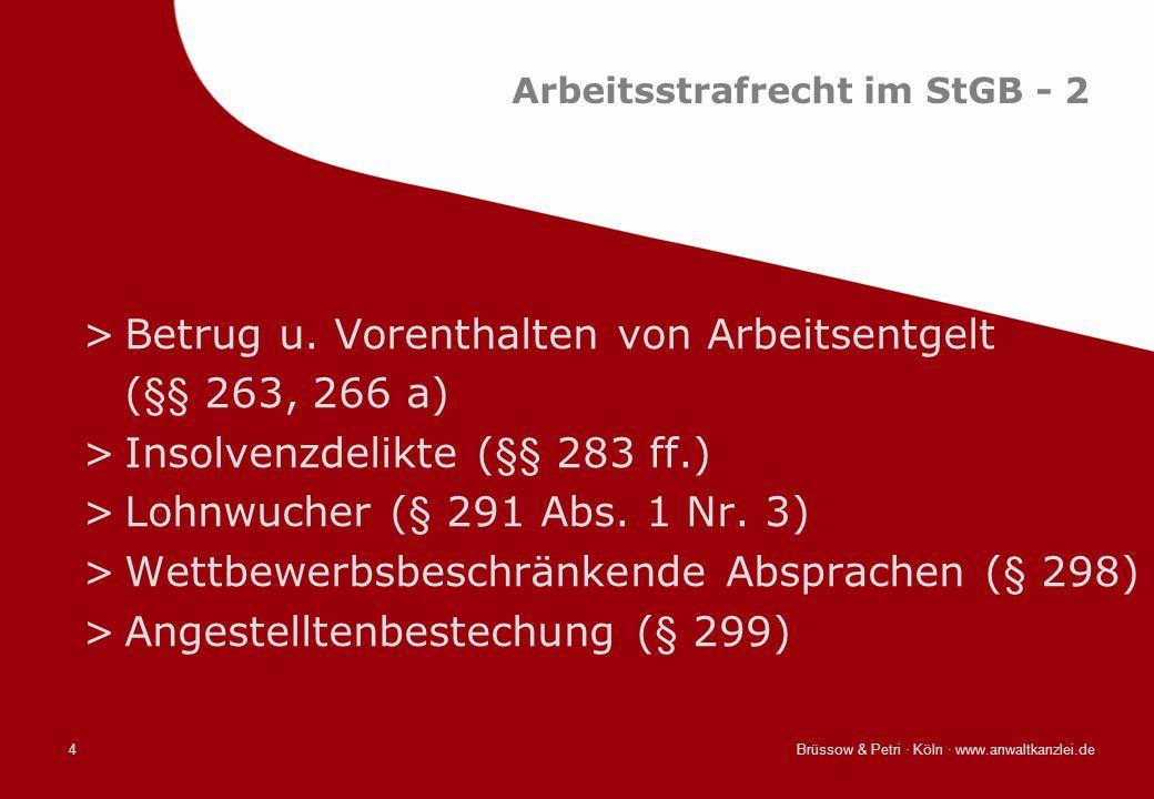 Arbeitsstrafrecht im StGB - 2
