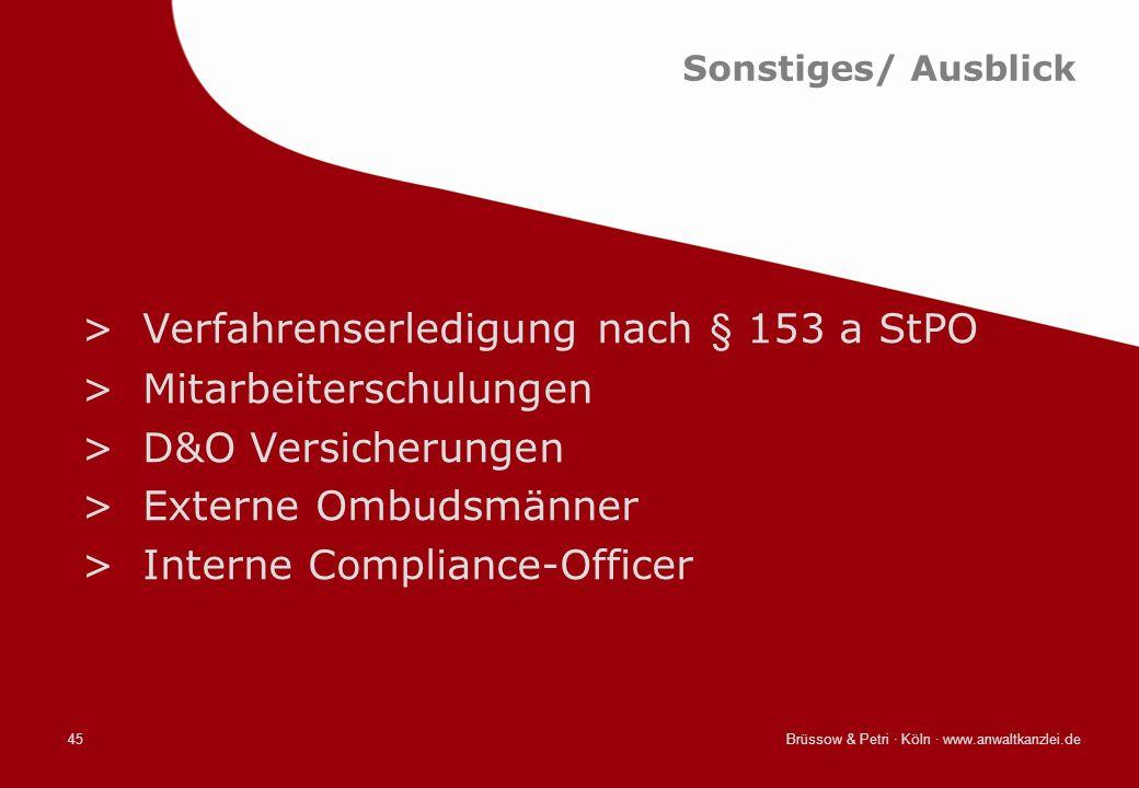 Verfahrenserledigung nach § 153 a StPO Mitarbeiterschulungen