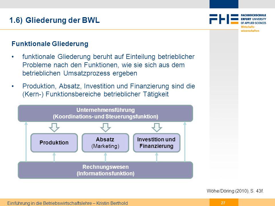 1.6) Gliederung der BWL betriebliche Entscheidungen müssen am Unternehmensziel ausgerichtet sein (aufeinander abgestimmt) und nicht isoliert sein.