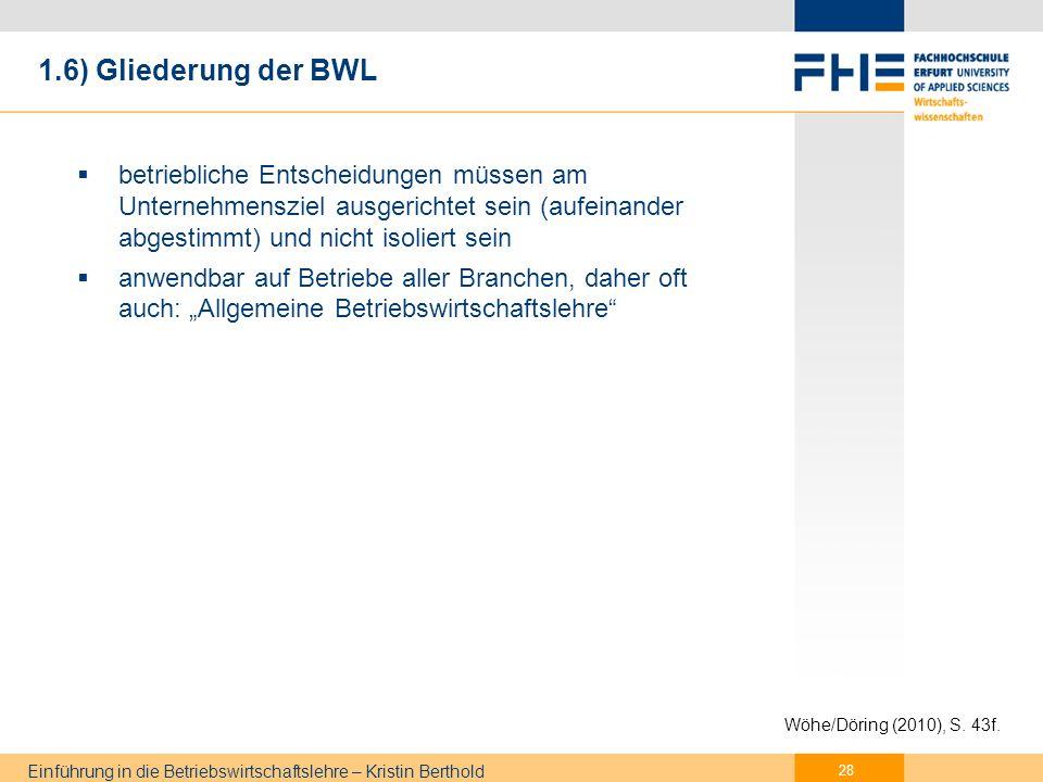 1.6) Gliederung der BWL Unternehmensführung: