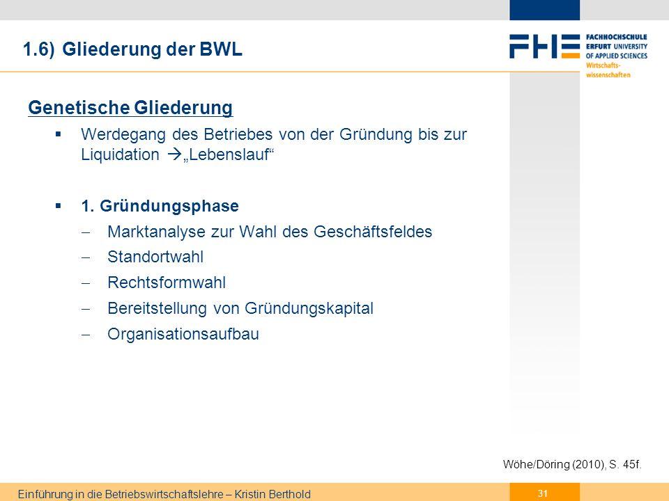 1.6) Gliederung der BWL 2. Betriebsphase