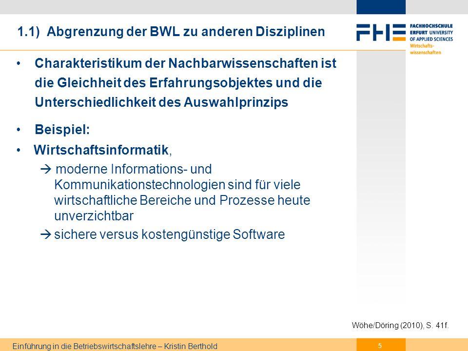 Gliederung Grundlagen der BWL
