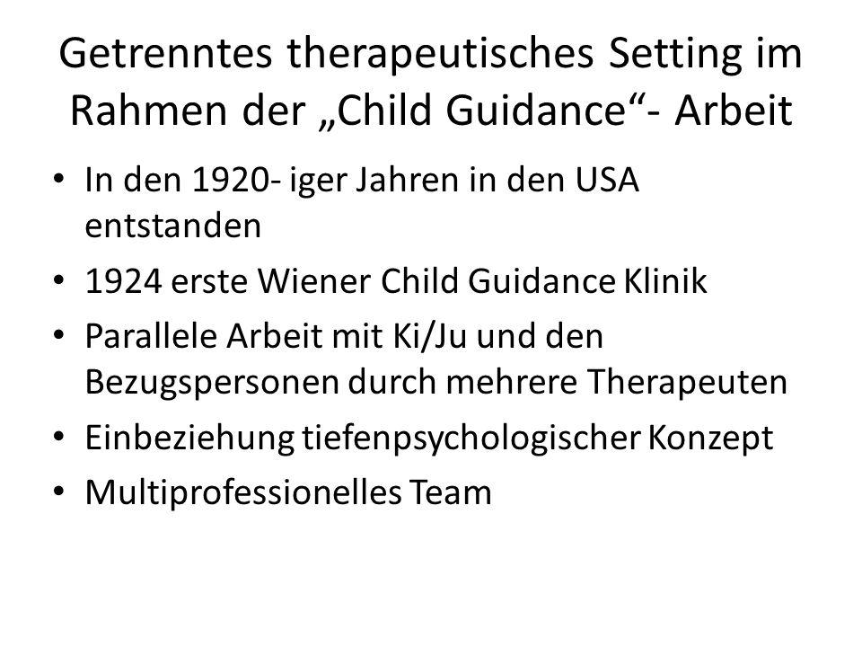 """Getrenntes therapeutisches Setting im Rahmen der """"Child Guidance - Arbeit"""
