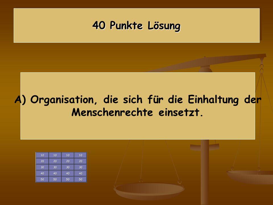 A) Organisation, die sich für die Einhaltung der