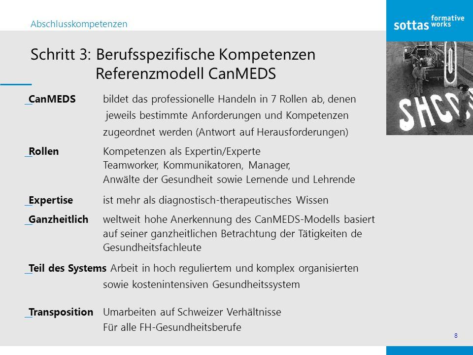 Schritt 3: Berufsspezifische Kompetenzen Referenzmodell CanMEDS