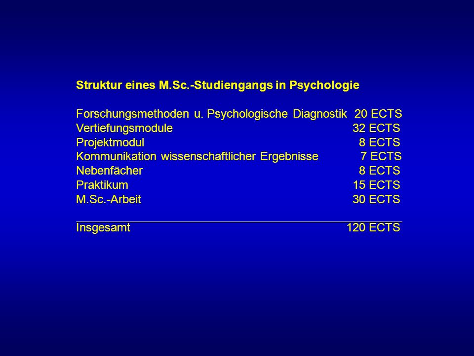 Struktur eines M.Sc.-Studiengangs in Psychologie