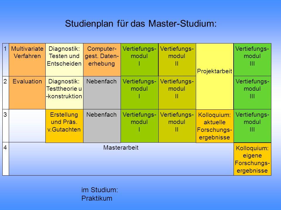 Studienplan für das Master-Studium: