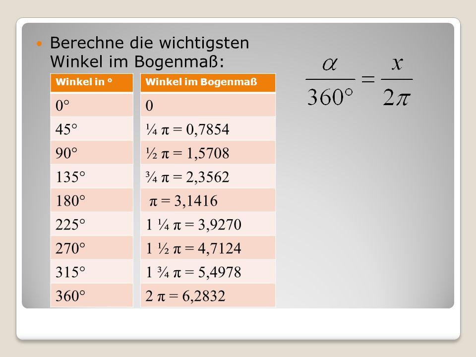 Berechne die wichtigsten Winkel im Bogenmaß: 0° 45° 90° 135° 180° 225°