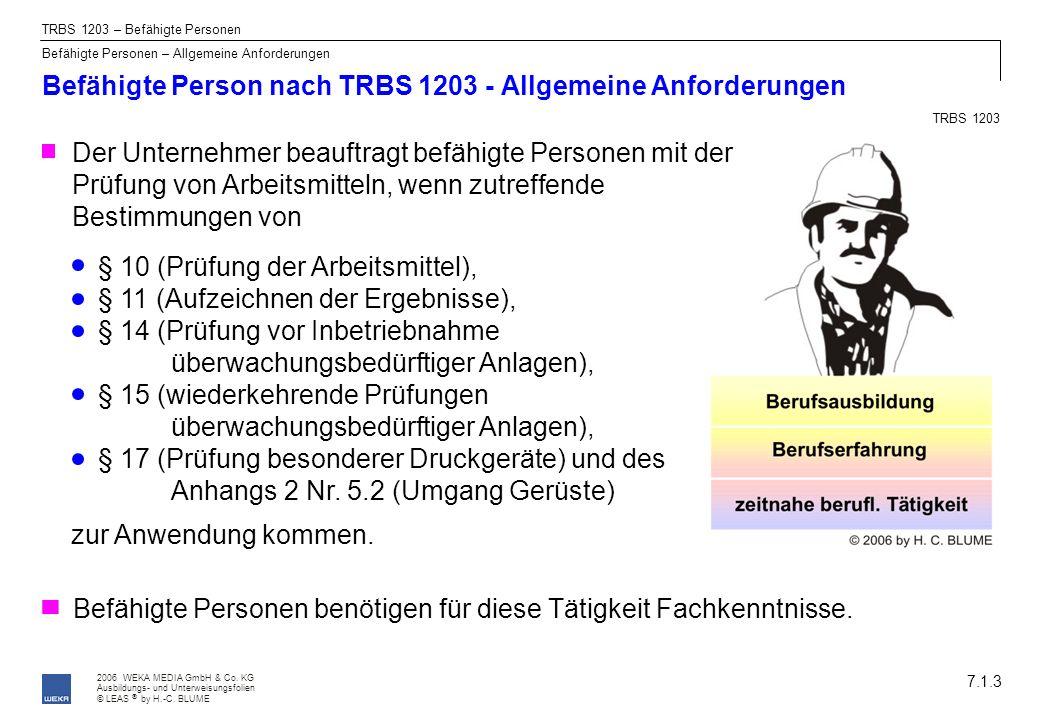 Befähigte Person nach TRBS 1203 - Allgemeine Anforderungen