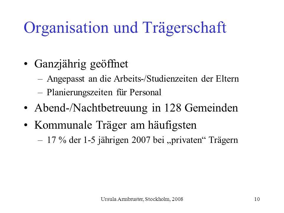 Organisation und Trägerschaft