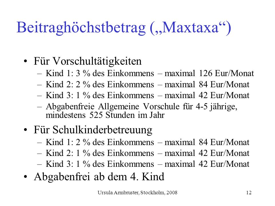 "Beitraghöchstbetrag (""Maxtaxa )"