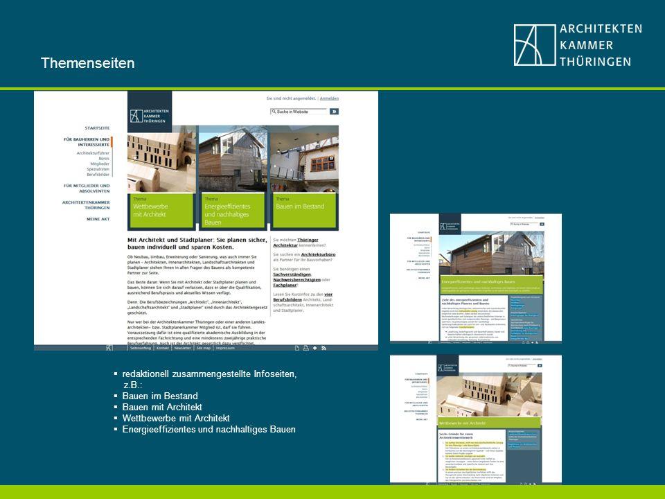 Themenseiten redaktionell zusammengestellte Infoseiten, z.B.: