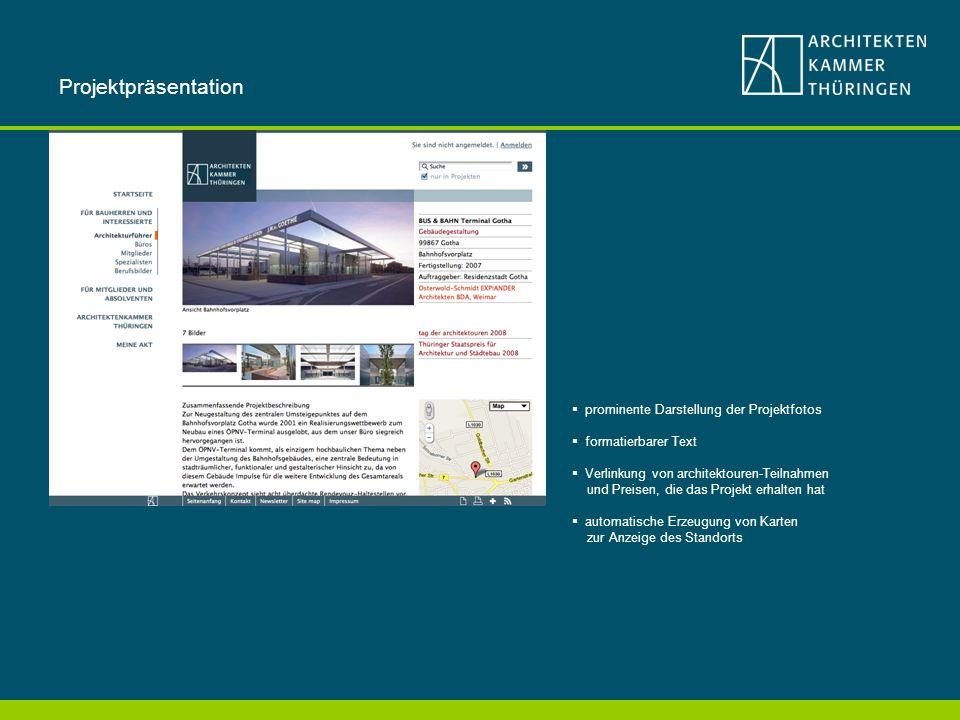 Projektpräsentation prominente Darstellung der Projektfotos
