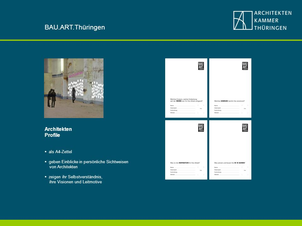 BAU.ART.Thüringen Architekten Profile als A4-Zettel