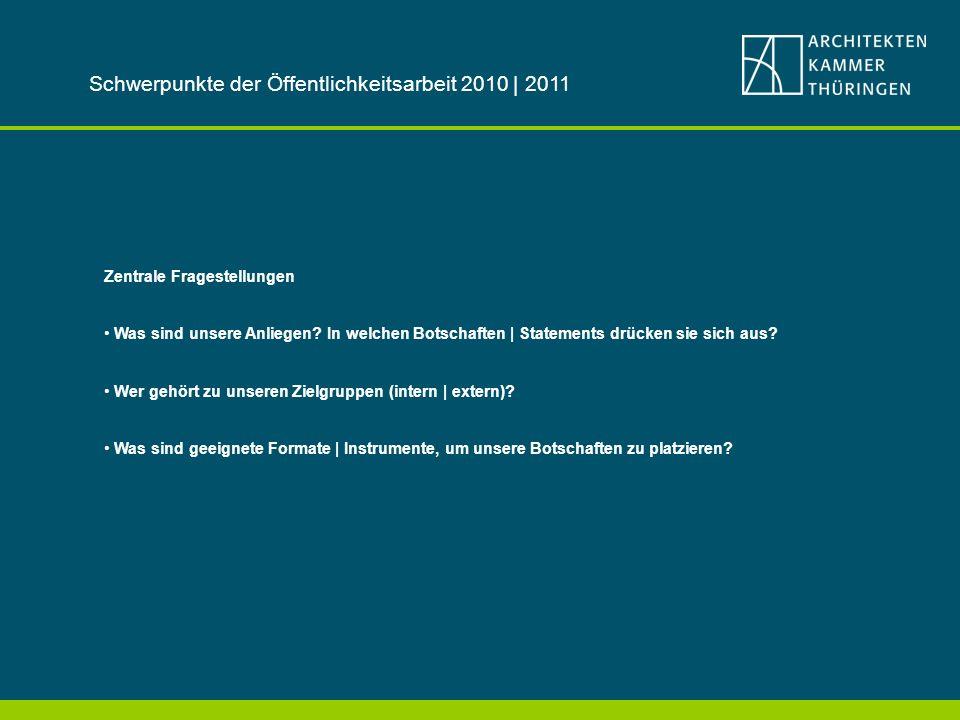 Schwerpunkte der Öffentlichkeitsarbeit 2010 | 2011
